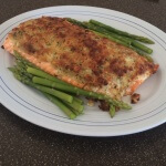 Macademia, lemon and basil crusted salmon