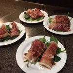 Melon wrapped in parma ham with a sherry & balsamic reduction