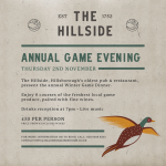 WIN 2 tickets to the Annual Game Dinner at the Hillside Restaurant